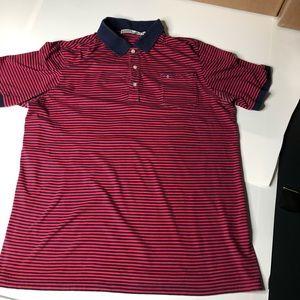 Criquet Red & Blue Stripe Men XL Polo Golf Shirt